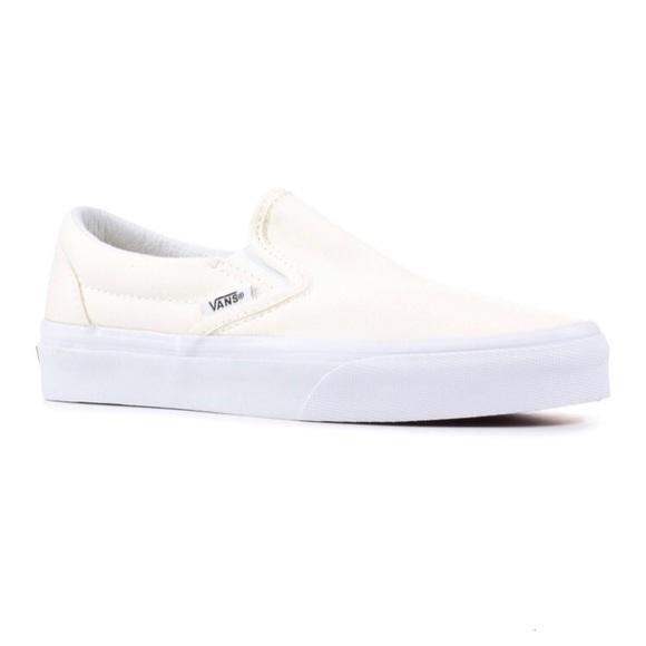 Vans Slip On Sneaker Shoes Cream Canvas